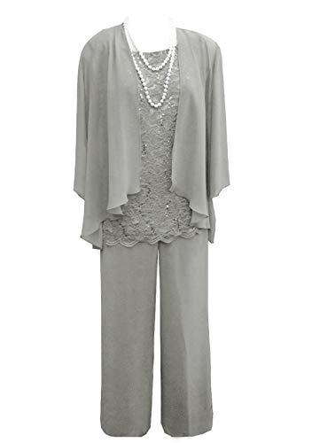 Pretygirl Damen 3 Stück Spitze Chiffon Mutter der Braut Kleid Hose Anzüge mit Jacke Outfit für Hochzeit Bräutigam(US 16 Plus, Silber Grau)