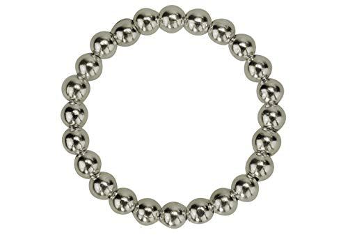 SILBERMOOS Damen Ring Kugelring Stapelring Beisteckring glänzend 925 Sterling Silber, Größe:60 (19.1)