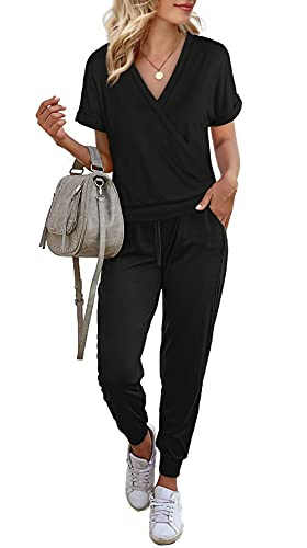 WIHOLL Two Piece Outfits for Women,Lounge Sets for Women 2 Piece Short Sleeve Wrap Tops and Long Pants with Pocket