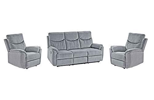 lifestyle4living Couchtgarnitur in grauem Microfaser mit praktischer Relaxfunktion, Garnitur bestehend aus Sessel, einem 2-Sitzer Sofa und einem 3-Sitzerm Sofa