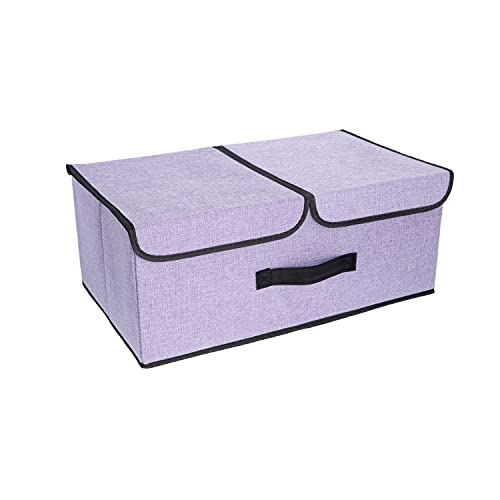 FAMILYS ODYSSEY Caja de almacenamiento plegable con 2 tapas y asa, para guardar juguetes, ropa interior, cosméticos, artículos pequeños (morado)