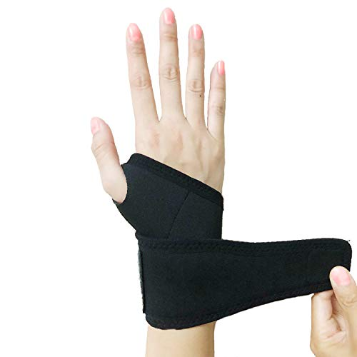 Wrist Brace, Adjustable Braces Elastic Pressure Support Wrist strap Relief Pain from Tenosynovitis, Arthritis, rheumatism, Carpal Tunnel, Tendonitis, for Both Right and Left Hands for Men and Women One Piece Black