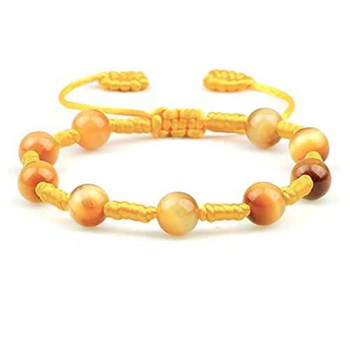QWXZ Pulsera de Cuentas Charm Trenzado Mujer Pulsera Piedra Natural Tigre Perlas balances Pulseras y brazaletes a Mano para los Hombres Joyería de curación Ajustable Moda Alternativa