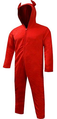Bioworld Merchandising Men's Unisex Hooded Red Devil One Piece Pajama (X-Large)
