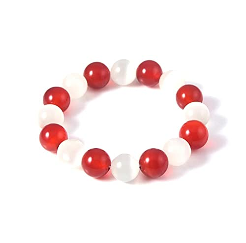 LEEYAN Pulsera de Anime Blanco Red Crystal Beads Brazaletes Pulseras para Mujeres Hombres Cosplay Props Boyry Jewelry