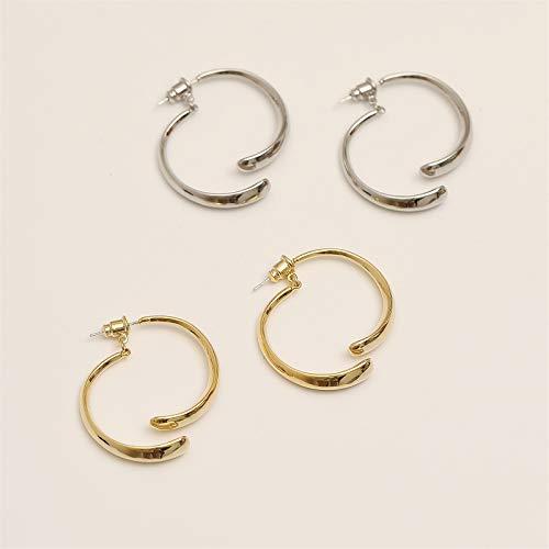 Pendientes curvos simples para mujer, aros circulares de enhebrador irregular, aros pequeños de plata de oro de 14 k, diseño de personalidad de alto nivel (Plata)