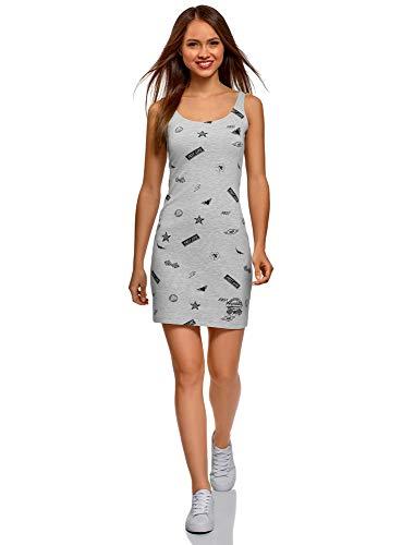 oodji Ultra Mujer Vestido-Camiseta de Tirantes de Punto