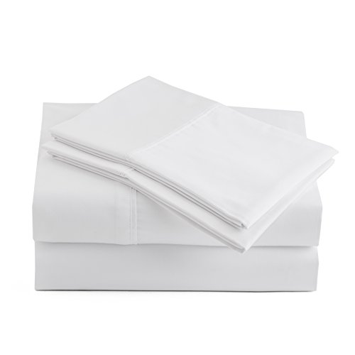 Peru Pima Luxury Soft 415-Thread-Count, 100% Peruvian Pima Cotton, Crisp and Cool Percale, Queen 4 Pc Bed Sheet Set, White