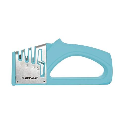 Farberware Edgekeeper 3 Stage Tabletop Kitchen Knife and Shear Sharpener, 7.5-Inch, Aqua
