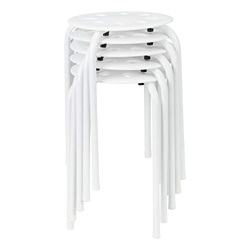 Norwood Commercial Furniture White Plastic Stack Stools (Pack of 5) (NOR-STOOLWW-SO)