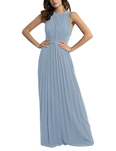 APART Elegantes Damen Kleid, Abendkleid, plissierter Chiffon, lockeres Taillenband, klassischer Schnitt, hellblau, 34
