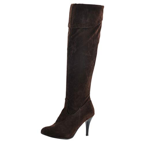 Damen High Heels Mid Calf Cowboy Stiletto Stiefel Slip On Western Booties Herbst Winter Schuhe(40 EU,Braun-1)