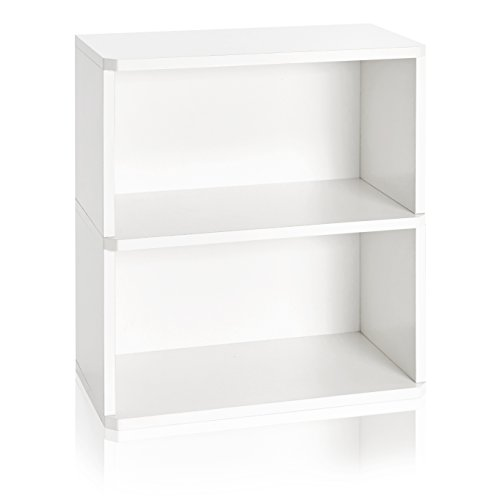Way Basics 2 Tier Bookshelf Storage and Organizer (Tool-Free Assembly and Uniquely Crafted from Sustainable Non Toxic zBoard Paperboard), White