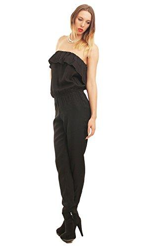 ONLY Damen Overall Jumpsuit Einteiler sexy Catsuite Karneval-Kostüm Cat-Woman, Farbe:Schwarz, Größe:40