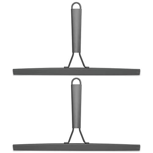 mDesign 2er-Set moderner Duschabzieher fürs Bad – praktisch für die Duschkabine oder als Fensterabzieher – Abzieher mit Saugnapf für Wandhalterung – dunkelgrau