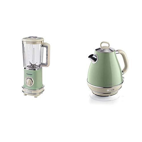 Ariete 568 04 Standmixer, L, Grün & 2869 Vintage Wasserkocher, 2000, lackiertes Edelstahl, 1.7 liters, grün