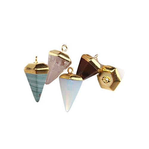 EXCEART 5 Piezas Colgante de Piedra Preciosa Hexagonal Cono Puntiagudo Curación Chakra Cuarzo Cristal Piedra Encanto para Diy Joyería Collar Pendiente Fabricación (Color Mezclado)