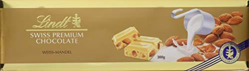 Lindt Weiße Mandel Tafel, Swiss Premium Chocolate, ganze geröstete Mandeln mit Nougatstückchen umhüllt von weißer Schokolade (1 x 300 g)