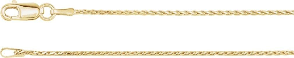 14k Yellow Gold 1mm Diamond-Cut Wheat Chain with Lobster Clasp