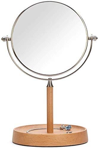 Nfudishpu Edelstahl-Reisespiegel, 3-fache Vergrößerung Doppelseitiger, runder, drehbarer High-Definition-Desktop-Kosmetikspiegel aus Holz