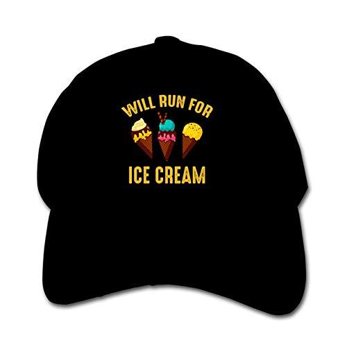 Will Run for Ice Cream Unisex Kinder Mütze Sonnenhut Hip Hop Kappe Verstellbare Sportkappe Teen Hut Kinder Entenschnabel Kappe