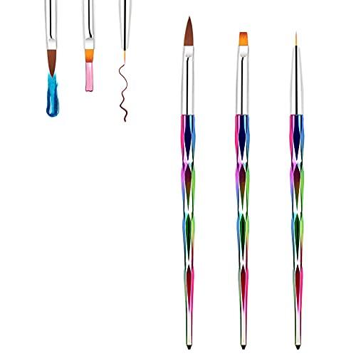 Hanyousheng Pinceles para Uñas de Gel, 3 Pcs Set de Cepillo de Esmalte Uñasde Pincel uñas de UV Gel,Nail Art Acrílico Pintura Dibujo Diseño Cepillo DIY Kit de Herreamientas de Manicurade