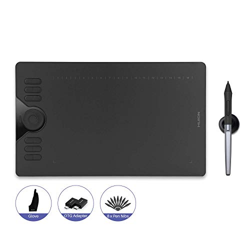 HUION Inspiroy HS610 Grafiktablett, für PC OTG Adapter für Android Phone & Tablet, Touch-Ring und 12+16 ExpressKeys, batterieloser Stift PW100 mit ±60° Neigefunktion 266 PPS