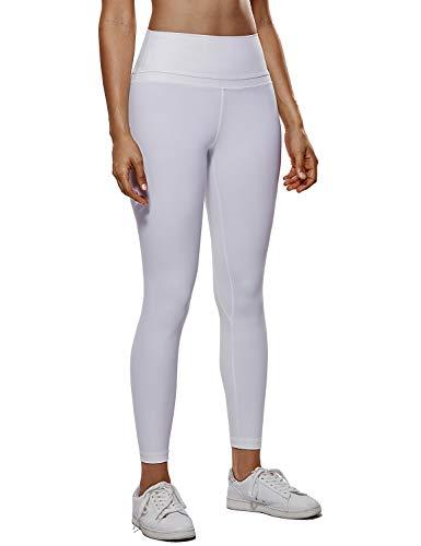 CRZ YOGA Donna Vita Alta Yoga Fitness Spandex Palestra Pantaloni Sportivi 7/8 Leggins con Tasche-63cm Bianco-R009 46