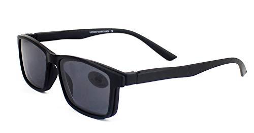 Gafas Sol Presbicia, Gafas de Lectura Polarizadas con Imán Clip para Sol, Gafas de Presbicia Vista Cansada Presbicia (+300, Negro)
