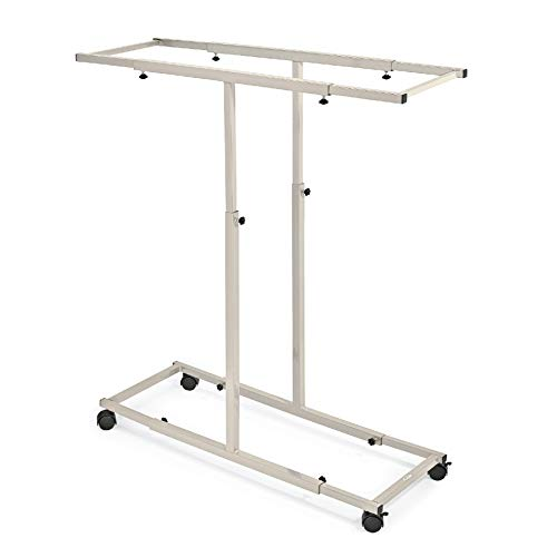 """Adir Corp. Mobile Blueprint Storage - Adjustable Vertical Poster Display Rack/Plans Holder - File Organizer Stand with Pack of 12 (30"""") File Hanging Clamps for Home, Office (Sand Beige)"""