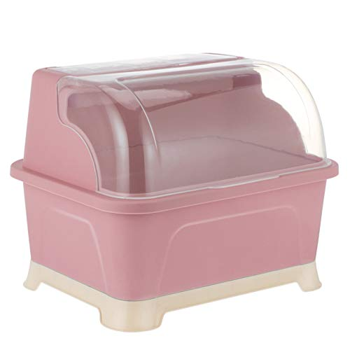 PIXNOR Dish Drying Dish Drying Rack Covered Dish Baby Bottle Dryer Holder Kitchen Utensil Organizer with Lid for Bottles Teats Cups Cutlery Dish Storage Shelf for Kitchen Counter Pink