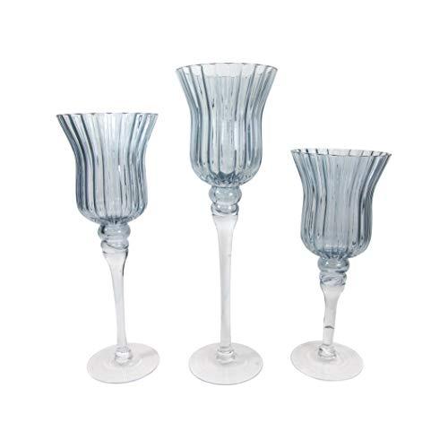 3tlg.Set Glaskelch Windlicht Kelche in Pokalform H40/35/30cm - Grau Rillenoptik Kerzenhalter Kerzenleuchter Kerzenständer