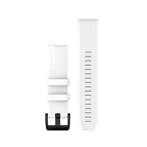 Garmin Quickfit - Correa de reloj con ventilación de titanio gris carbono, color blanco con herrajes de acero inoxidable negro, 22 mm (010-12901-01)