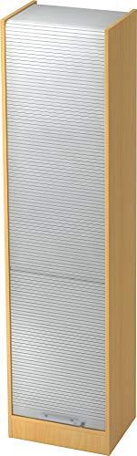 bümö® Aktenschrank mit Rollladen   Rollladenschrank für Aktenordner   Büroschrank für Akten   Büromöbel   Rolladenschrank in 5 Farben (Buche/Silber)