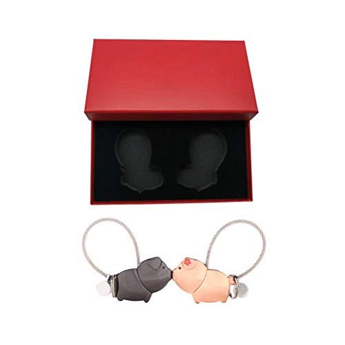 ABOOFAN 2 llaveros de coche con caja de regalo (negro, oro rosa)