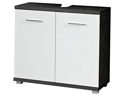 Waschbeckenunterschrank Waschtischkombination Camilla 1 | Dekor | Betonoptik | Weiß Hochglanz | 2 Türen