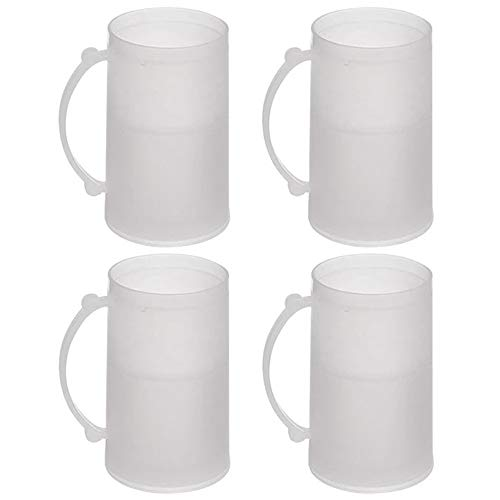 4 Set Freezer Mugs 14 oz Frosty Freezer Mug Keep Drink Cold Ice Frozen Cup New