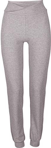 Golden Lutz - Damen Yogahose Yoga Hose Sporthose, lang (Gr. S 36/38, grau meliert - Regular fit)