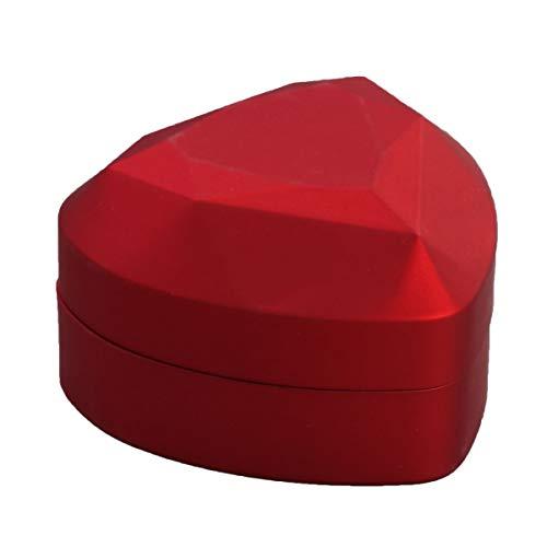 VICASKY Lujosa caja de anillo de poliuretano con luz LED, caja de regalo para propuesta de compromiso de boda (rojo)