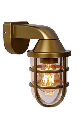 Lucide LEWIS – Lámpara de pared exterior – 1 x E27 – IP44 – Oro mate / latón