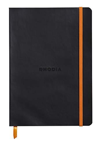 Rhodia 117452C Notizheft Rhodiarama mit weichem Umschlag, dot grid, 80 Blatt, 90 g elfenbeinfarbenes Papier, A5 148 x 210 mm, Lesezeichen, Innentasche,1 Stück,schwarz