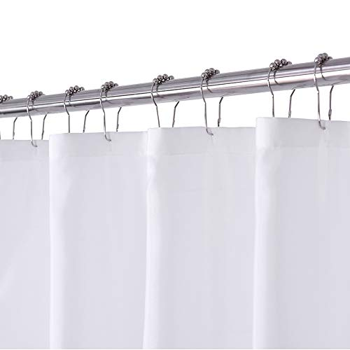 N&Y HOME White Fabric Shower Curtain or Liner, Washable, 71x72 inch Hotel Style for Bathroom