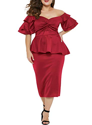 LALAGEN Womens Plus Size Ruffle Sleeve Peplum Cocktail Party Pencil Midi Dress Red XL