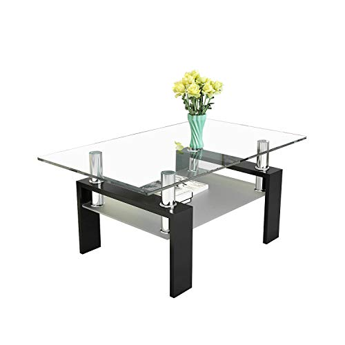 Glass Coffee Table with Storage for Living Room, Rectangle 2-Tier Large Living Room Table with Metal Tube Leg 39.4'' 23.7'' X 17.4''