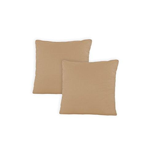 SHC - Kissenbezug 2er-Set für Dekokissen, 100% Baumwolle mit Reißverschluss - 50x50 cm, Sand/Cappuccino