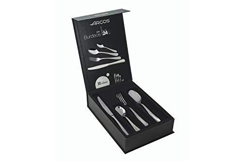 Arcos Serie Burdeos - Cubertería de 24 piezas en una Caja de Regalo (6 cuchillos + 12 cucharas + 6 tenedores) - Monoblock de una pieza en Acero Inoxidable Color Plata