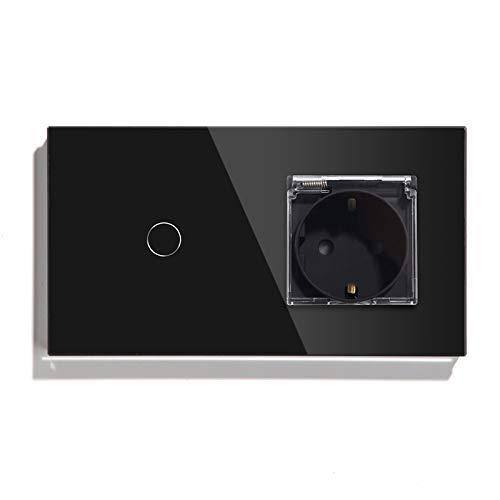 BSEED Interruptor con Enchufe,1 Gang 1 Vía interruptor tactil +16A 250V enchufe pared con cubierta,Interruptor Táctil de Luz pared con panel de vidrio templado,Impermeable toma de corriente Negro