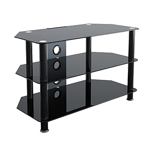 """mahara TV Stand Black Glass, Black Legs for HD LED LCD 4K 8K QLED TVs up to 42"""" inch , 3 Shelves Shelf 80cm, Cable Tidy"""