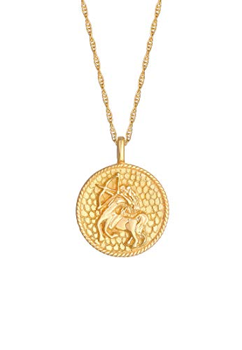 Elli Necklace Star sign Sagittarius coin in 925 Sterling Silver gold-plated
