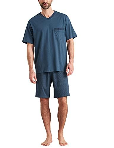 Schiesser Herren Schlafanzug kurz Pyjamaset, Jeansblau, 52